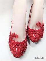 Women's Blush Wedding Shoes,Red Wedding Shoes,Red bridal shoes flats uk 2,3,4,5 - $39.99
