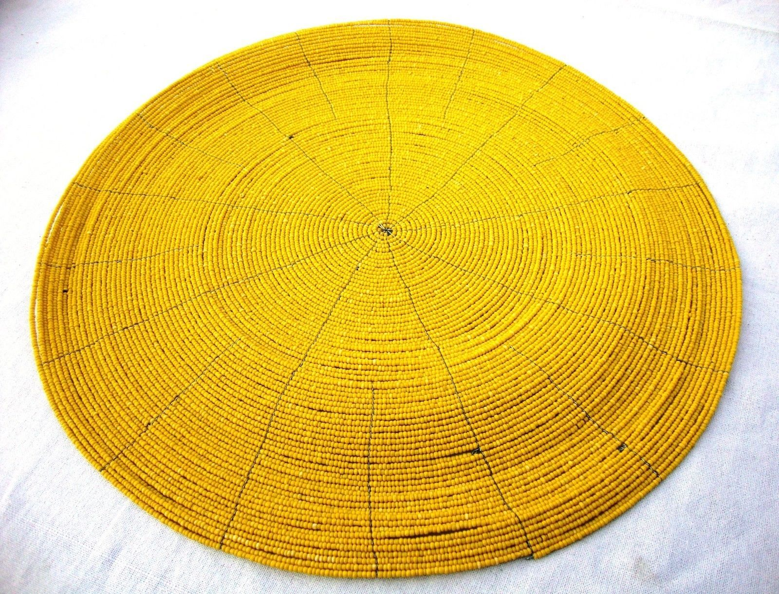 handmade beaded placemat yellow 14 quot no backing set