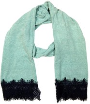 """Womens Winter Large Scarf With Lace Fringe, 80"""" x 20"""", Blue - £4.24 GBP"""