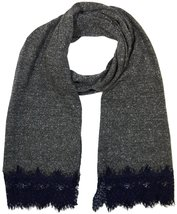 """Womens Winter Large Scarf With Lace Fringe, 80"""" x 20"""", Grey - £4.24 GBP"""