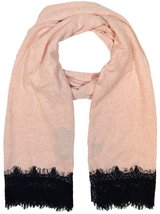 """Womens Winter Large Scarf With Lace Fringe, 80"""" x 20"""", Pink - £4.24 GBP"""
