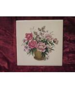 Flower Basket Tile Made in England Vintage - $9.99