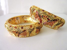 "Indian Traditional Bollywood Women's Gold Plated Fashion Jewelry Bangles 2.10"" - $17.33"