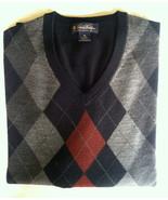 Brooks Brothers Sweater Extra Fine Marino XL argyle  V neck FLAWLESS - $20.88