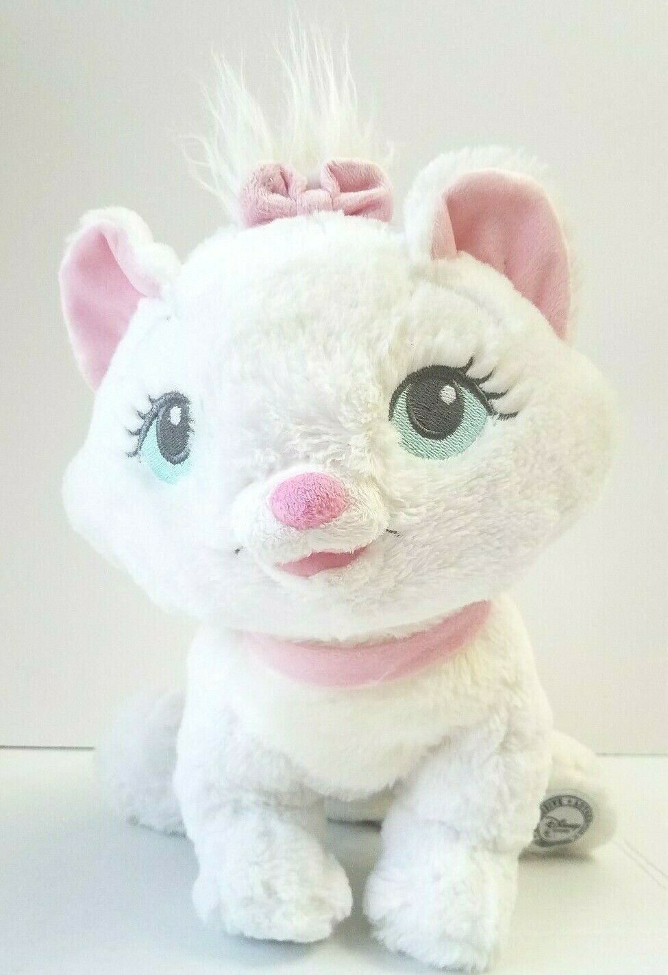 Disney Authentic Aristocats Marie Plush Stuffed Animal White Cat Pink Bow 14""