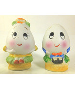 VINTAGE LEFTON BISQUE ANTHROPOMORPHIC EGG HEAD SALT AND PEPPER SHAKERS - $4.77