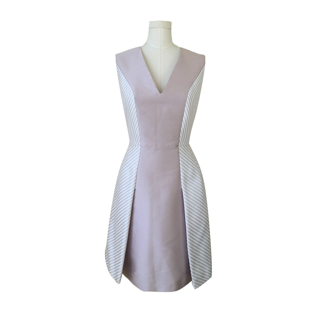 NWT! $795 PHILOSOPHY Sleeveless Fit & Flare Dress Mauve Pink White Silver 44/10 - $295.00
