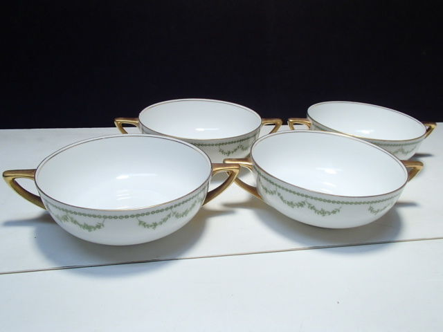Primary image for 4 Rosenthal Selb Bavaria Cream Soups~~green garland decoration