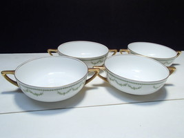 4 Rosenthal Selb Bavaria Cream Soups~~green garland decoration - $9.95