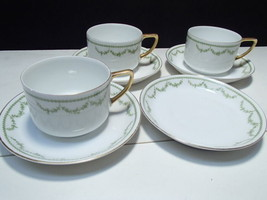 Cup & Saucers Set  Rosenthal Selb Bavaria~~green garland decoration - $9.95