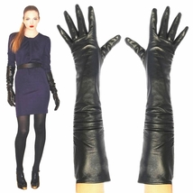 Women's 23 inches long,Black Lambskin Leather Opera Length Gloves - $45.99+