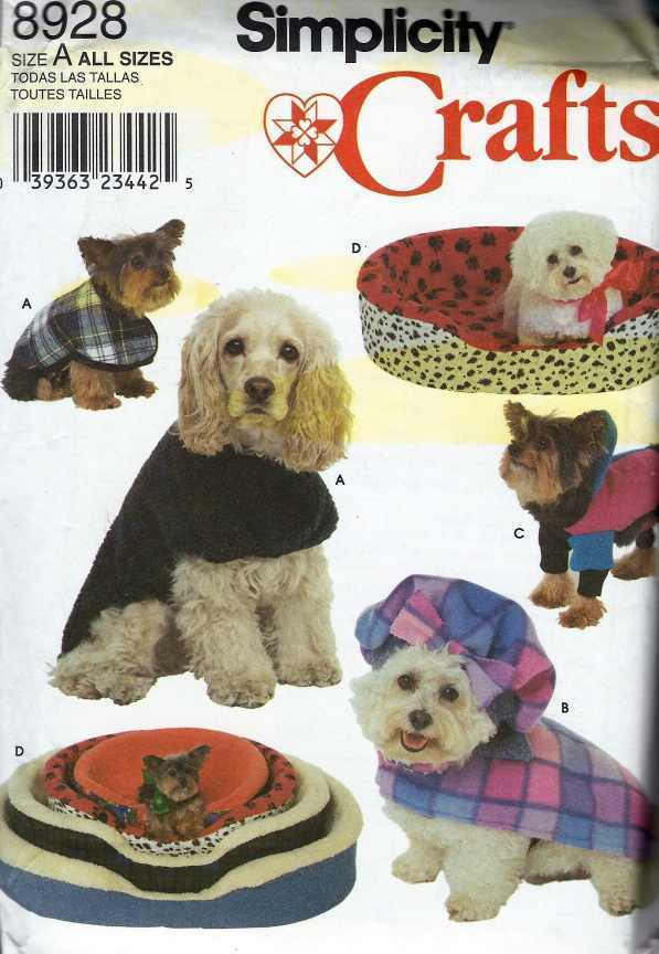 Pattern 8928: Dog Bed Covers 4 sizes, Dog Coats in Sm, Med & Lg
