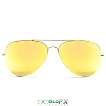 BLACK FRIDAY GloFX Metal Pilot Aviator Style Diffraction Glasses – Gold Mirror - $19.99