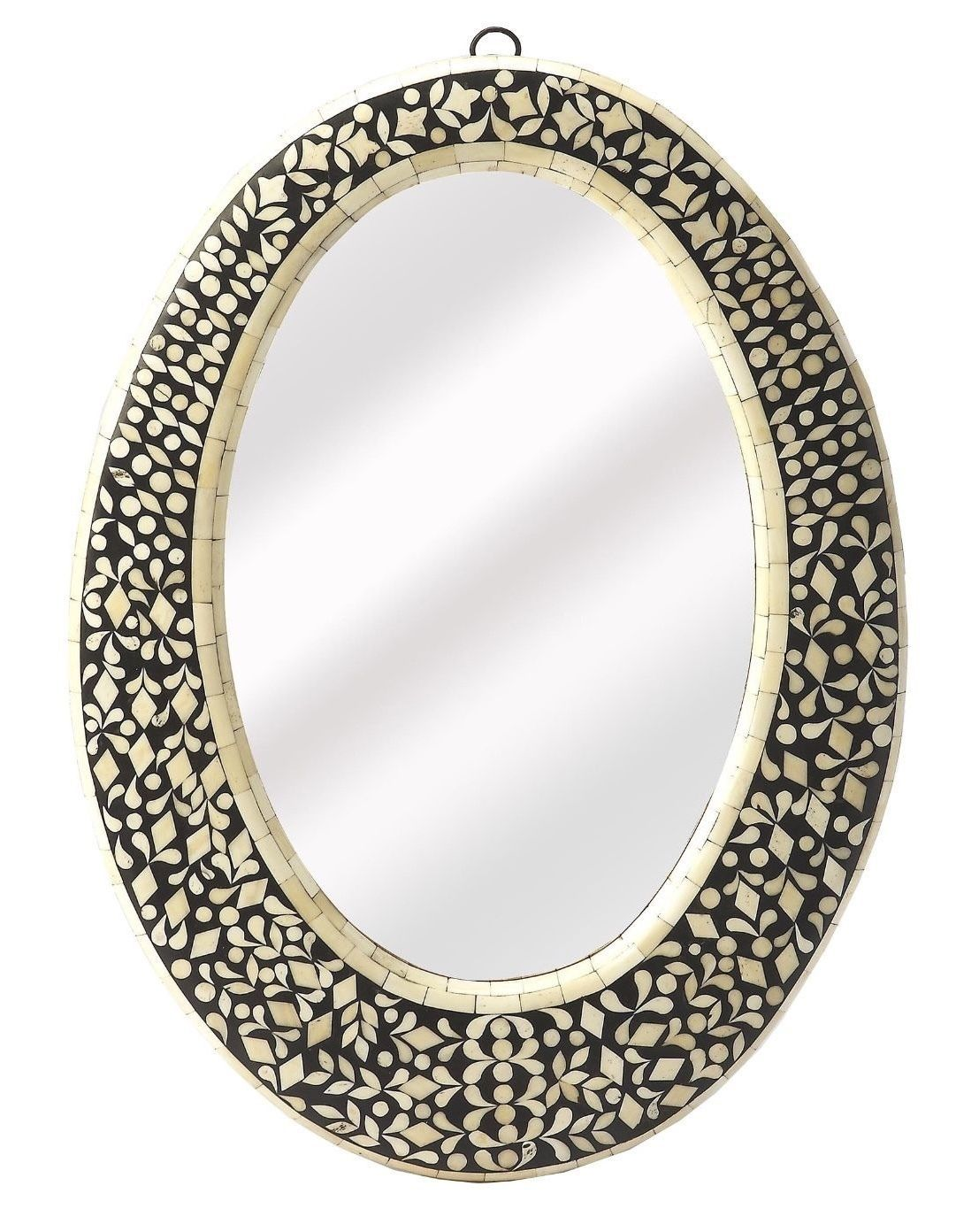 Anthropologie French Moroccan Bone Inlay OVAL Wall Mirror Vanity Foyer