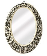 Anthropologie French Moroccan Bone Inlay OVAL Wall Mirror Vanity Foyer - £191.57 GBP