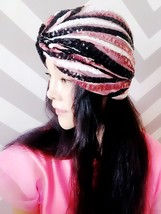 Black White Pink Sequin Turban,Women Turban,Full Turban,Headband,Turban Hat - $19.99