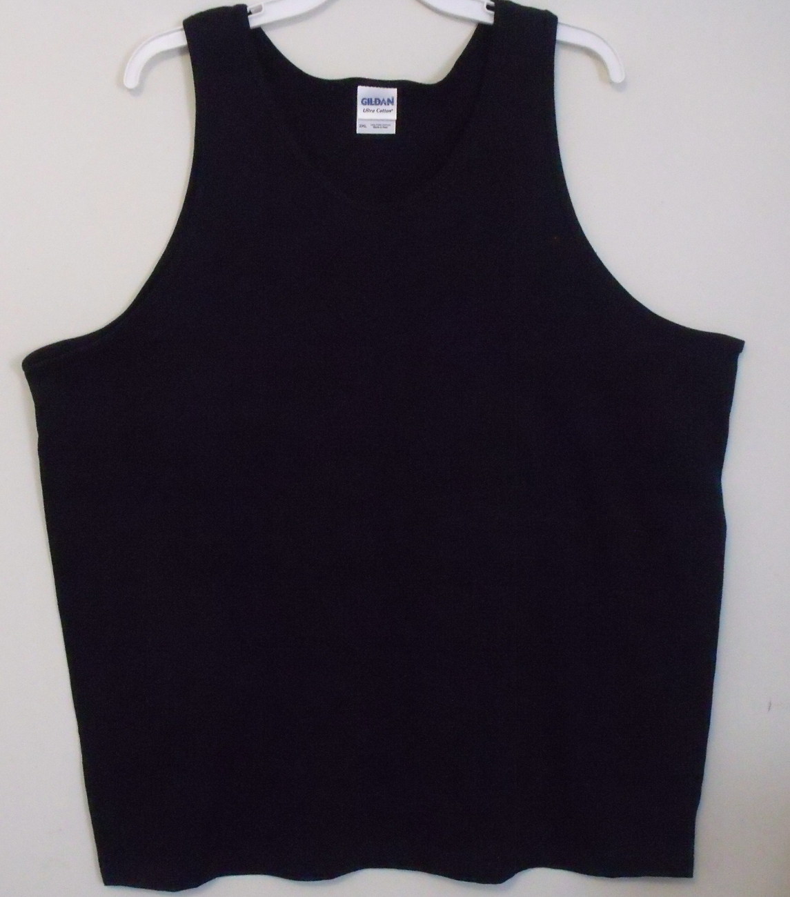 Mens gildan black tank top front