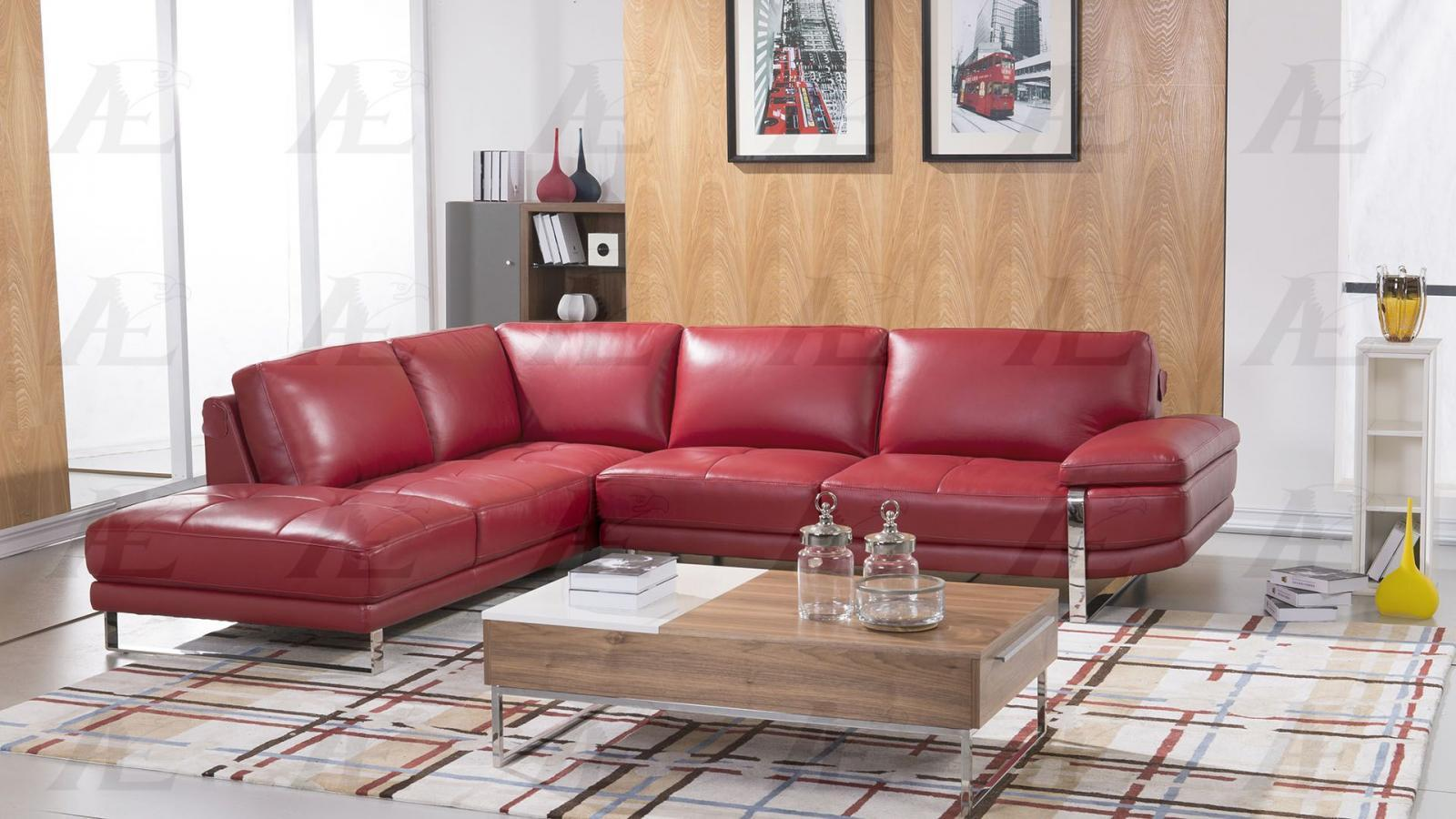 American Eagle EK-L025 Modern Red Italian Leather Right Hand Chase Sofa Set 2pcs