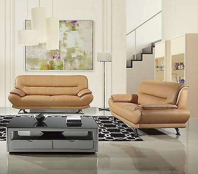 American Eagle EK-B118 Modern Yellow Genuine Leather Living Room Sofa Set 2pcs
