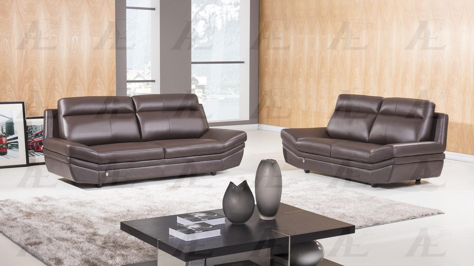 American Eagle EK075 Contemporary Dark Chocolate Italian Leather Sofa Set 2pcs