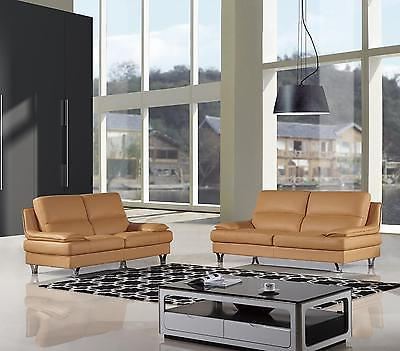 American Eagle EK-B109 Modern Yellow Genuine Leather Living Room Sofa Set 2pcs