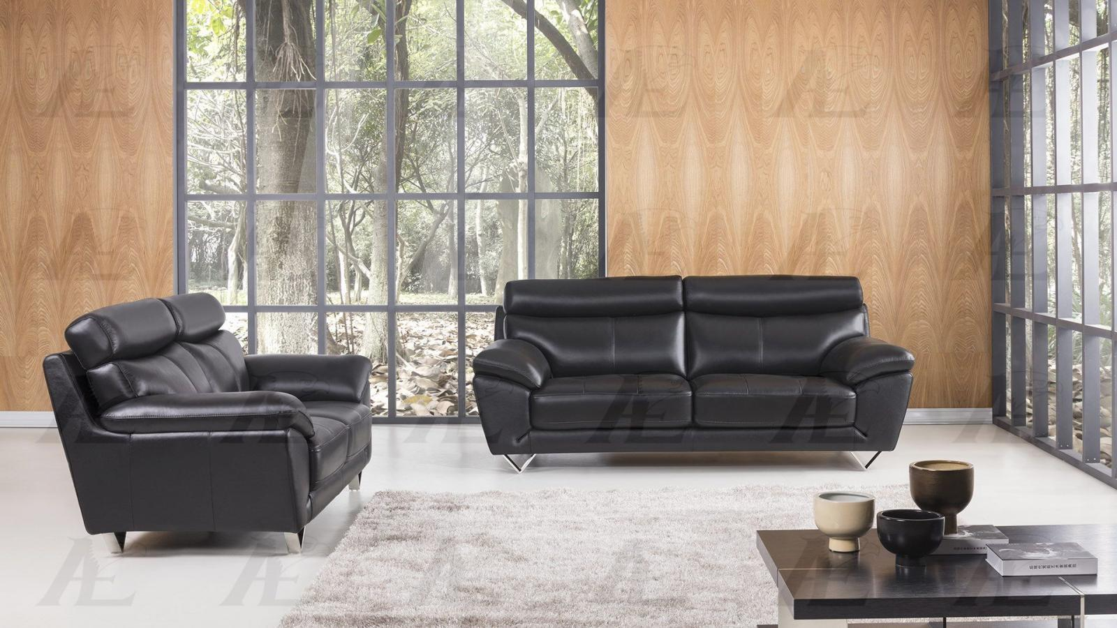 American Eagle EK078 Contemporary Black Italian Leather Living Room Sofa Set 2pc