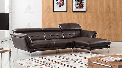 American Eagle EK-L083 Modern Dark Chocolate Leather Sofa w Left Hand Chase 2pcs
