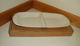 Longaberger Divided Dish Plate Tray Ivory New In Box USA Vitrified Pottery - $29.65