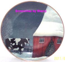 American Folk Art Collector Plate Barnyard Christmas Farmers Franklin Mint - $14.97