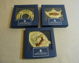 WEDGWOOD Christmas Ornaments White Jasper Lot of 3:Teapot, First Togethe... - $21.98