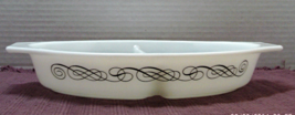 Vintage Pyrex 1-1/2 QT. Divided Oval Casserole Dish With Lid BLACK SWIRL... - $13.00