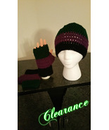 Crochet Hat & Fingerless Gloves Set (Purple, Green & Black) - $18.00