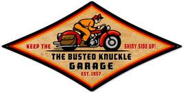 Busted Knuckle Garage Motorcycle Diamond Metal Sign - $29.95