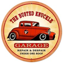 """Busted Knuckle Garage Hot Rod Metal Sign 14"""" Round - $29.95"""