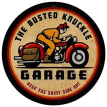 """Busted Knuckle Garage Motorcycle Metal Sign 14"""" Round - $24.95"""
