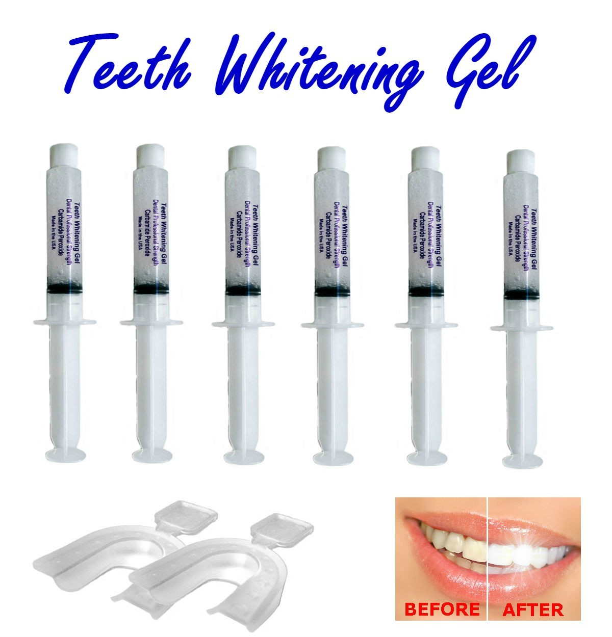 Primary image for 6 Syringes of 35% Teeth Whitening Professional Gel Syringes + FREE 2 Trays - USA