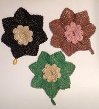 3 Vintage Trivets Hot Pads Pot Holders Handmade Glittery Yarn Flower  - $14.80