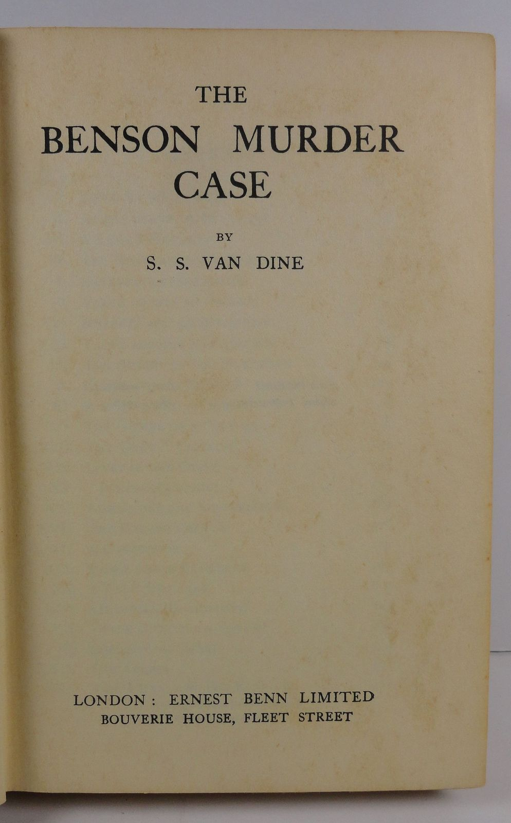 The Benson Murder Case by S. S. Van Dine 1928