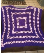 Purple & Pink Square Handmade Crochet Lap Blanket - $50.00