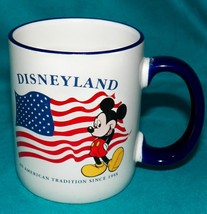 Disneyland Mickey Mouse An American Tradition Since 1955 USA Flag Coffee... - $29.99