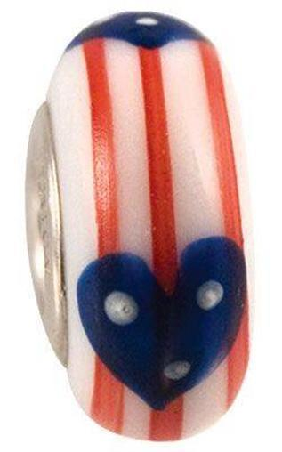 Fenton Art Glass Handpainted Bead Made USA Stars & Stripes Mendenhall retired
