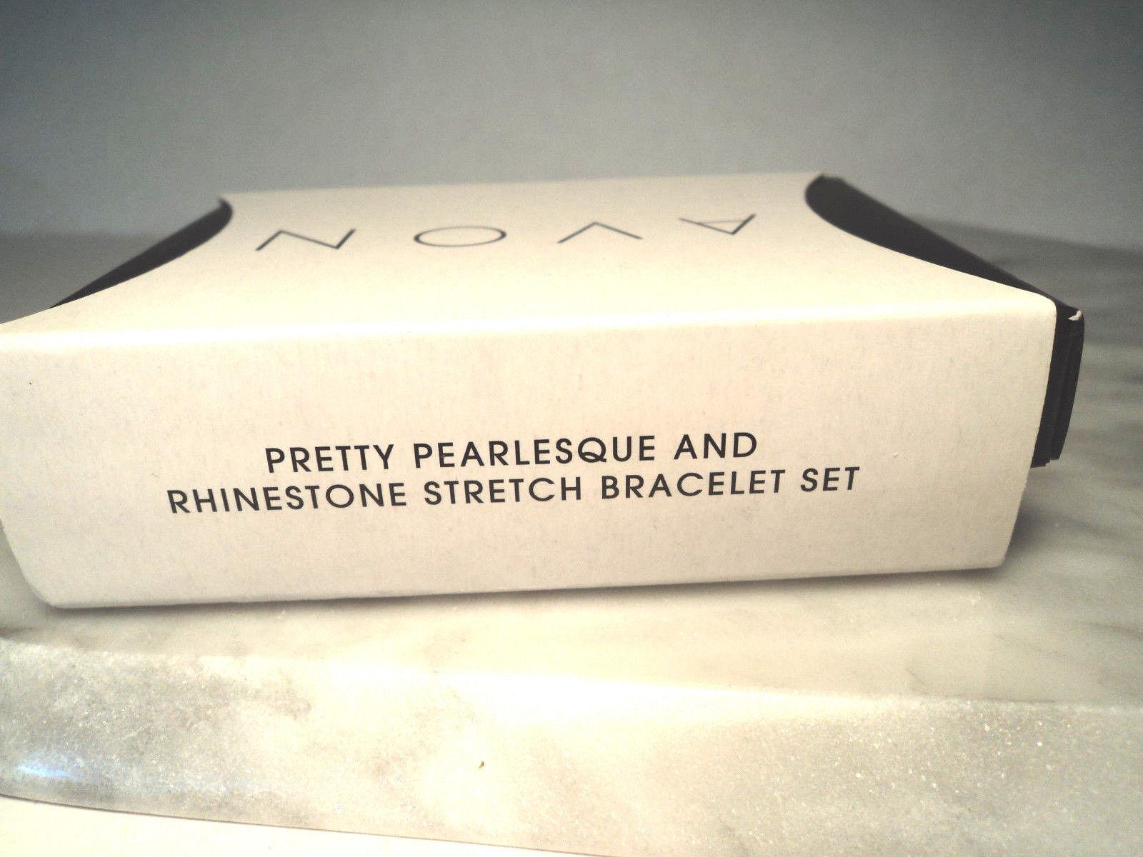 Avon Pretty Pearlesque and Rhinestone Stretch Bracelet Set New 2011 image 6