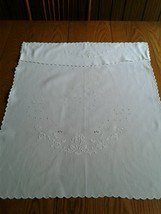 """Vintage Hand Embroidered White Baby or Doll Carriage Crib Coverlet ~ 25""""... - $13.85"""