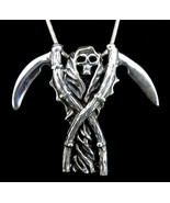 Large Men's Handcrafted 925 Sterling Silver GRIM REAPER Double Scythe Pe... - $74.20