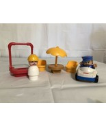 FIsher Price Little People Police Car Man Construction Guy Patio Set Swi... - $18.29