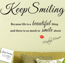 -Keep Smiling- English Proverbs  Art vinyl Wall Decals Stickers Letter Red lips - $10.90