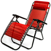 Zero Gravity Folding Lounge Chair, Red - $113.42