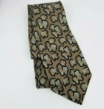 Giorgio Armani Brown Print Silk Tie Brown Tan Abstract Luxury Designer N... - $17.81
