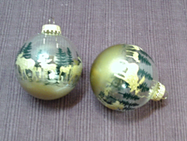 Two Vintage Krebs Glass Ball Stenciled Christmas Ornaments // Gold Moose - $12.50