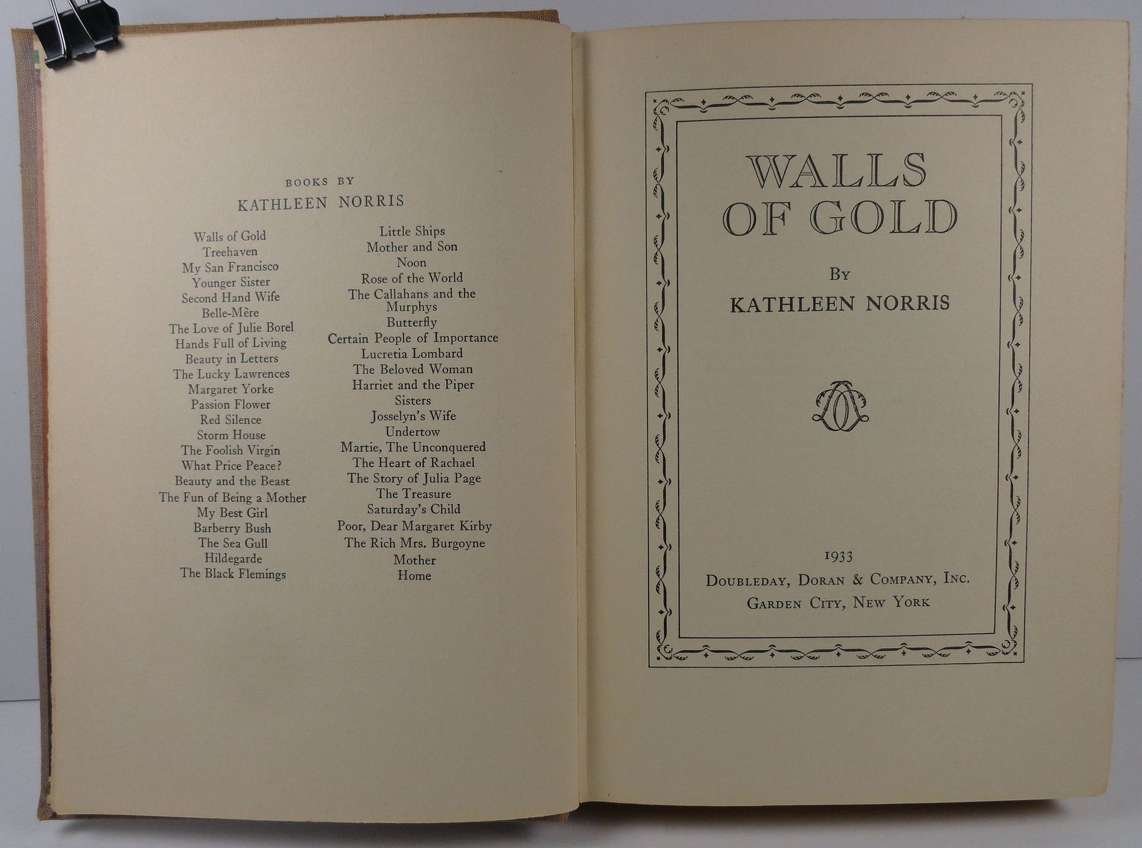 Walls of Gold by Kathleen Norris 1933 Doubleday, Doran